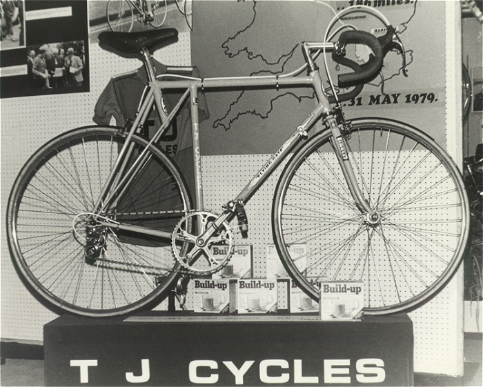 The first T.J. Cycles 'Flying Gate' at Harrogate Show in 1979