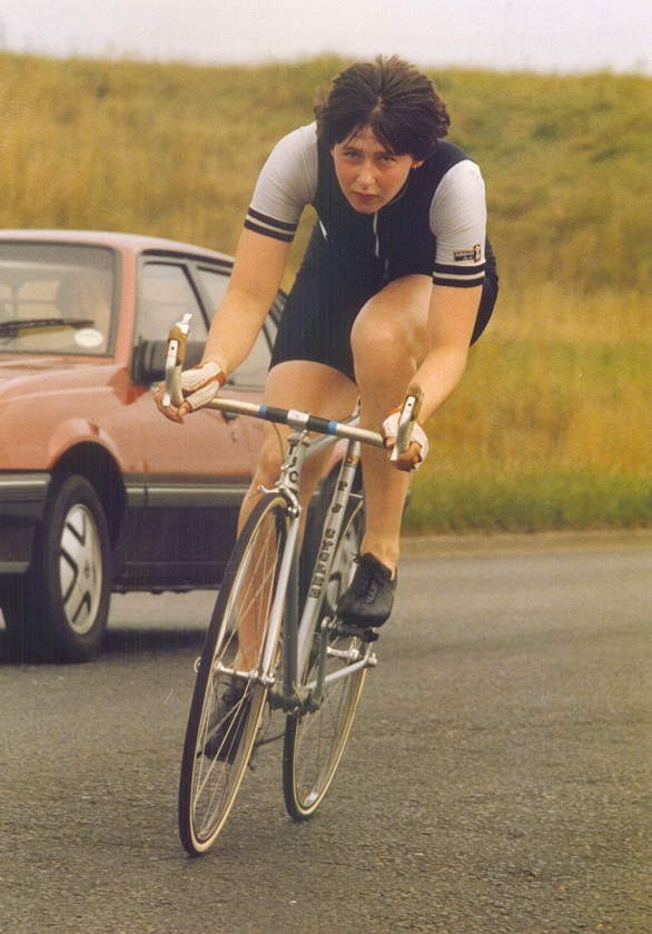 Full size image of Gill Bradley puting the time trial bike through its paces