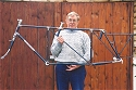 Thumbnail of Trevor Jarvis with stunning 'Flying Gate' tandem frame in 2001